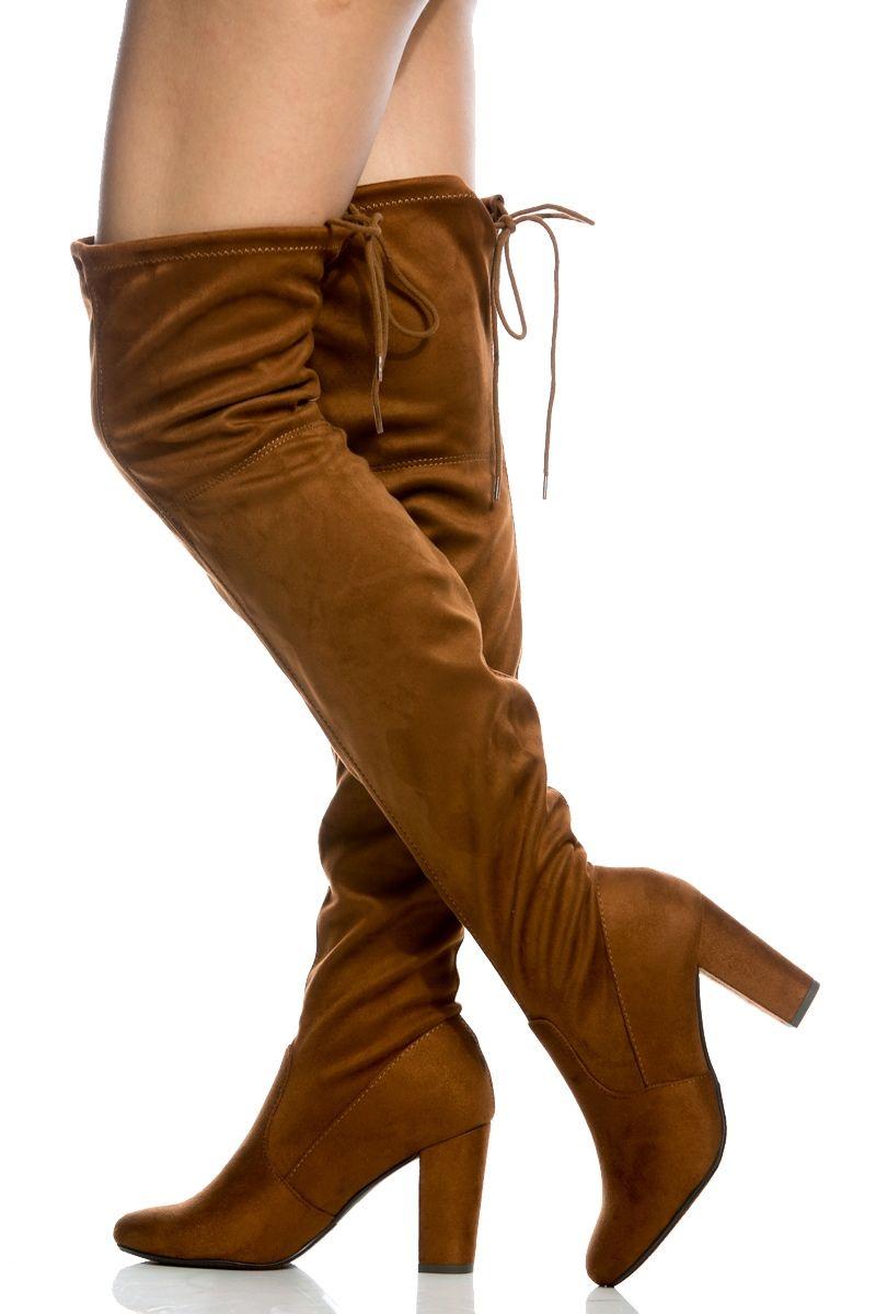 Cognac Thigh Faux Suede Chunky Thigh Cognac High Stiefel @ Cicihot Stiefel Catalog ... 47ff9c