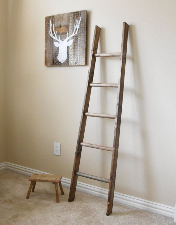 We Have Designed A Tapered Ladder To Use As Blanket Or Quilt Ladder That You Can Customize Easily This Re Purposed Wood Item Resembles A Vintage Ladder