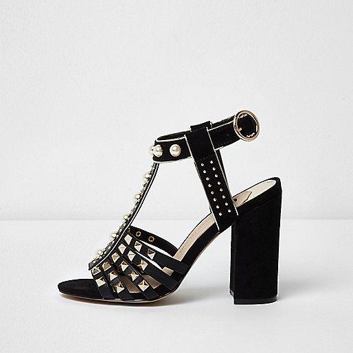5235cd7a793 Black stud T-bar block heel sandals