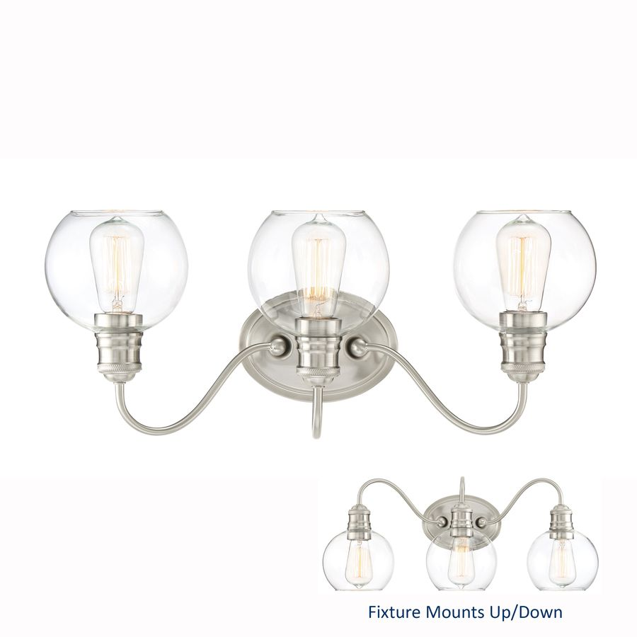 Budget friendly light quoizel soho 3 light brushed nickel globe quoizel soho brushed nickel globe vanity light at lowes the soho is a nostalgic and very chic design with the brushed nickel finish and clear glass arubaitofo Gallery
