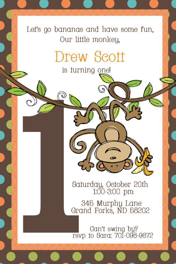 Swinging Monkey First Birthday Invitation by myaclairedesign, $12.00 ...
