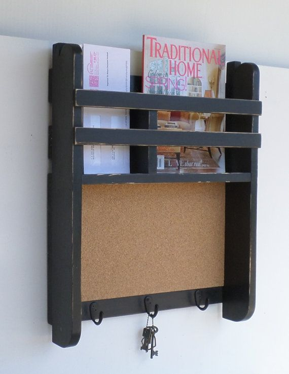 office key holder. Home Or Office Organizer Mail And Key Holder Cork Message Board .Ready To Ship In Black