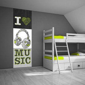 Zelfklevend muurdecoratie paneel: Ik hou van muziek | Slaapkamer ...