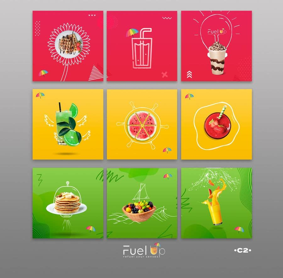 Fuel Up Is A Fresh Juice And Sweets Cafe The Umbrella And The Gas Bump Is One Of Our In 2020 Instagram Design Creative Learning Graphic Design Creative Graphic Design