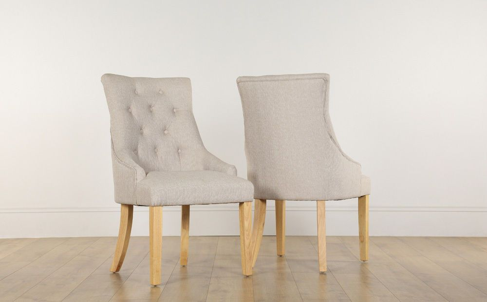 2 4 6 8 Duke Oatmeal Fabric Dining Room Chairs Oak Leg Ebay