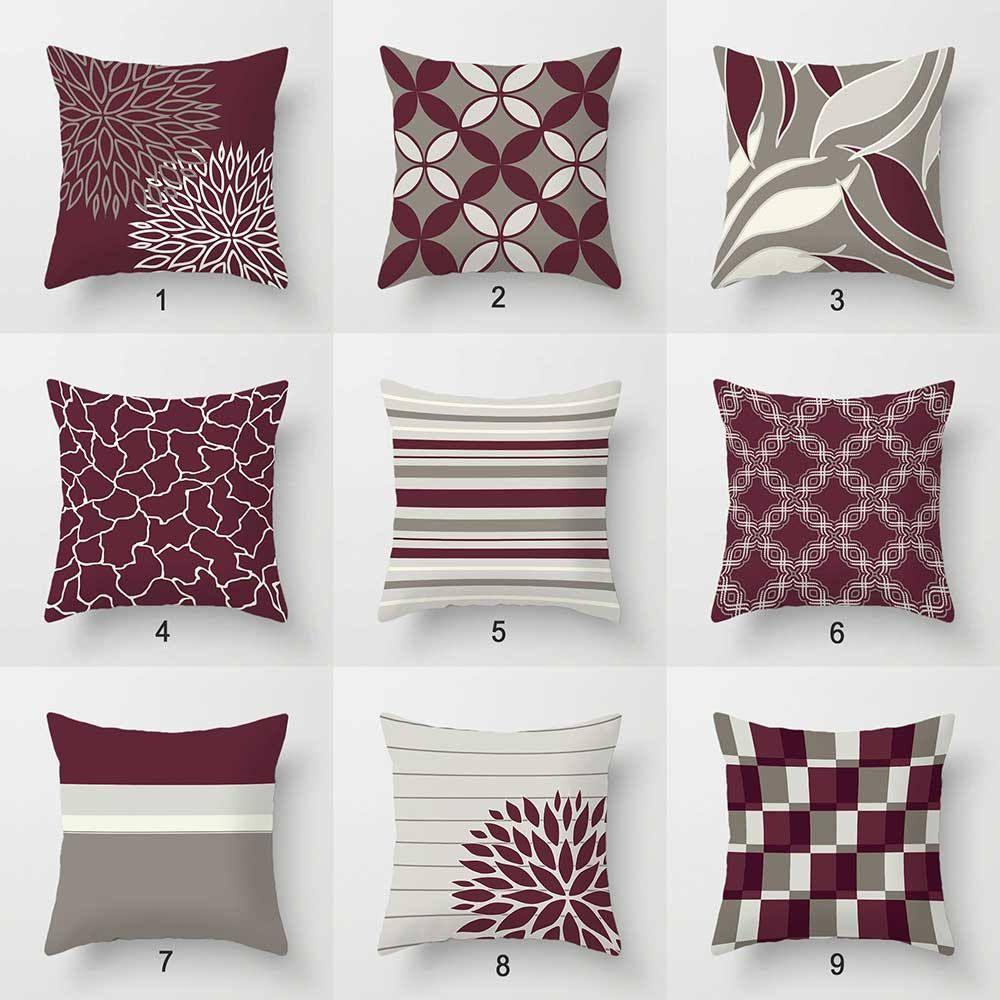 Fantastic Burgundy Pillow Covers Throw Pillows Wine Dark Red Evergreenethics Interior Chair Design Evergreenethicsorg