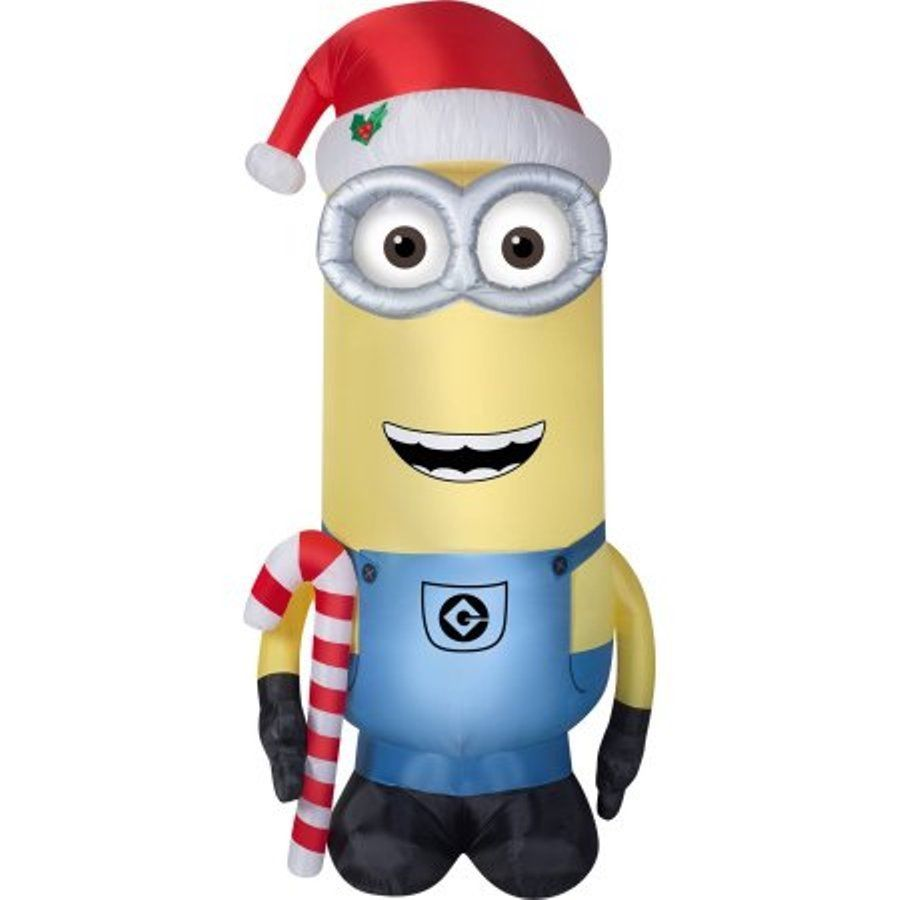 Airblown Inflatable Minion Kevin With Candy Cane & Santa Hat 11 ...