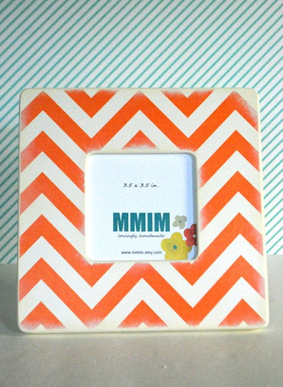 Framing A 10x10 Room: Orange And Ivory Chevron Picture Frame By Mmim On Etsy