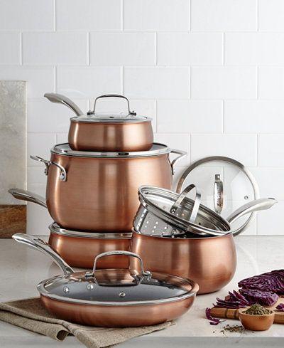 Belgique Copper Translucent 11 Piece Cookware Set Created For Macy S Cookware Set Copper Cookware Cookware Sets