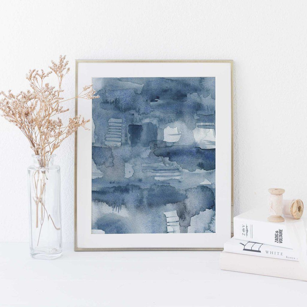 Minimalist indigo blue watercolor ocean digital print in art