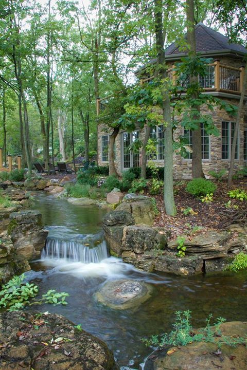 Pin by Harley Burgess on House ideas | Waterfalls backyard ...