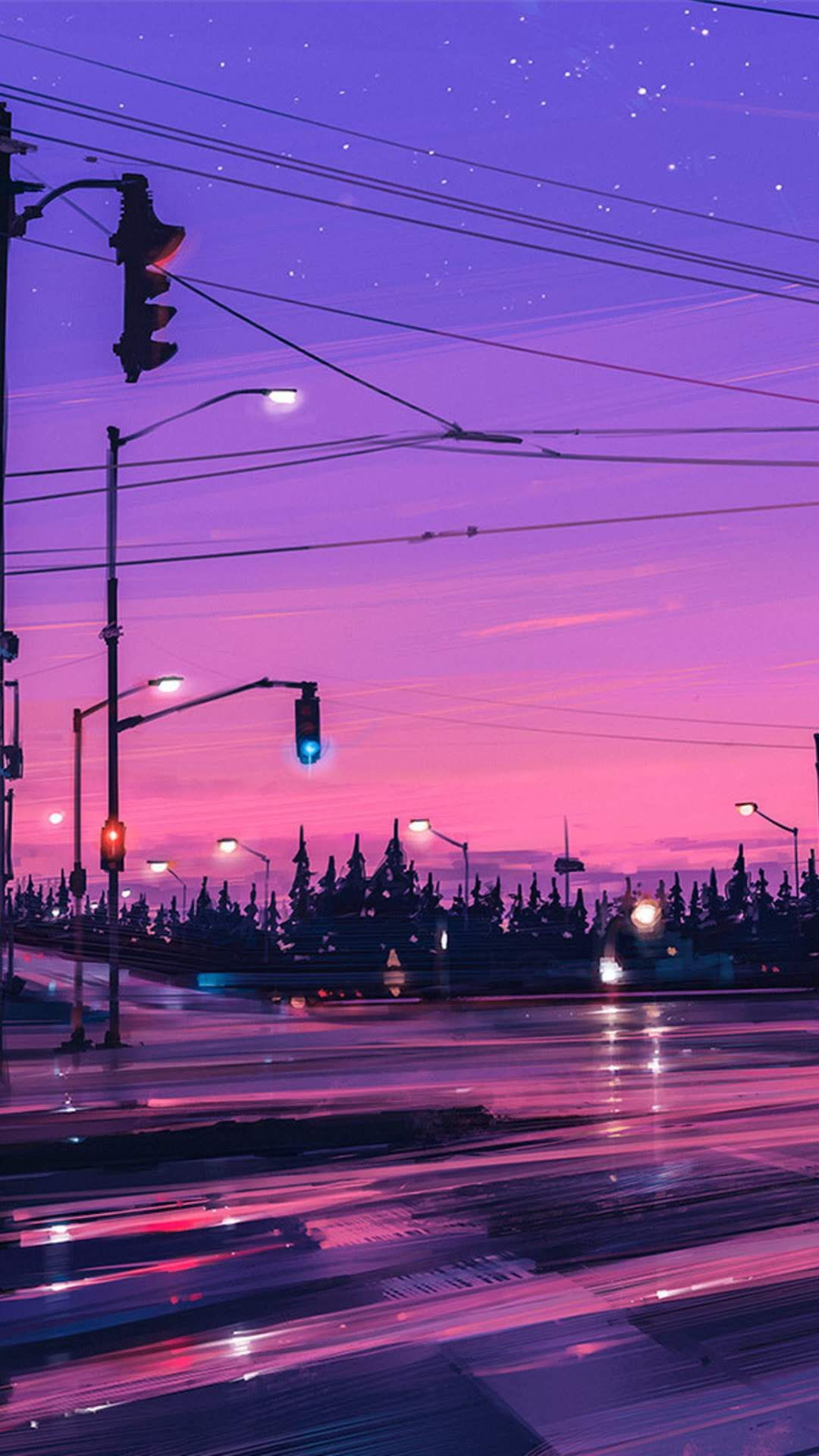 Rainy Street Lights Painting Wallpaper Available In Wallpixel App Desktop Wallpaper Art Landscape Wallpaper Scenery Wallpaper