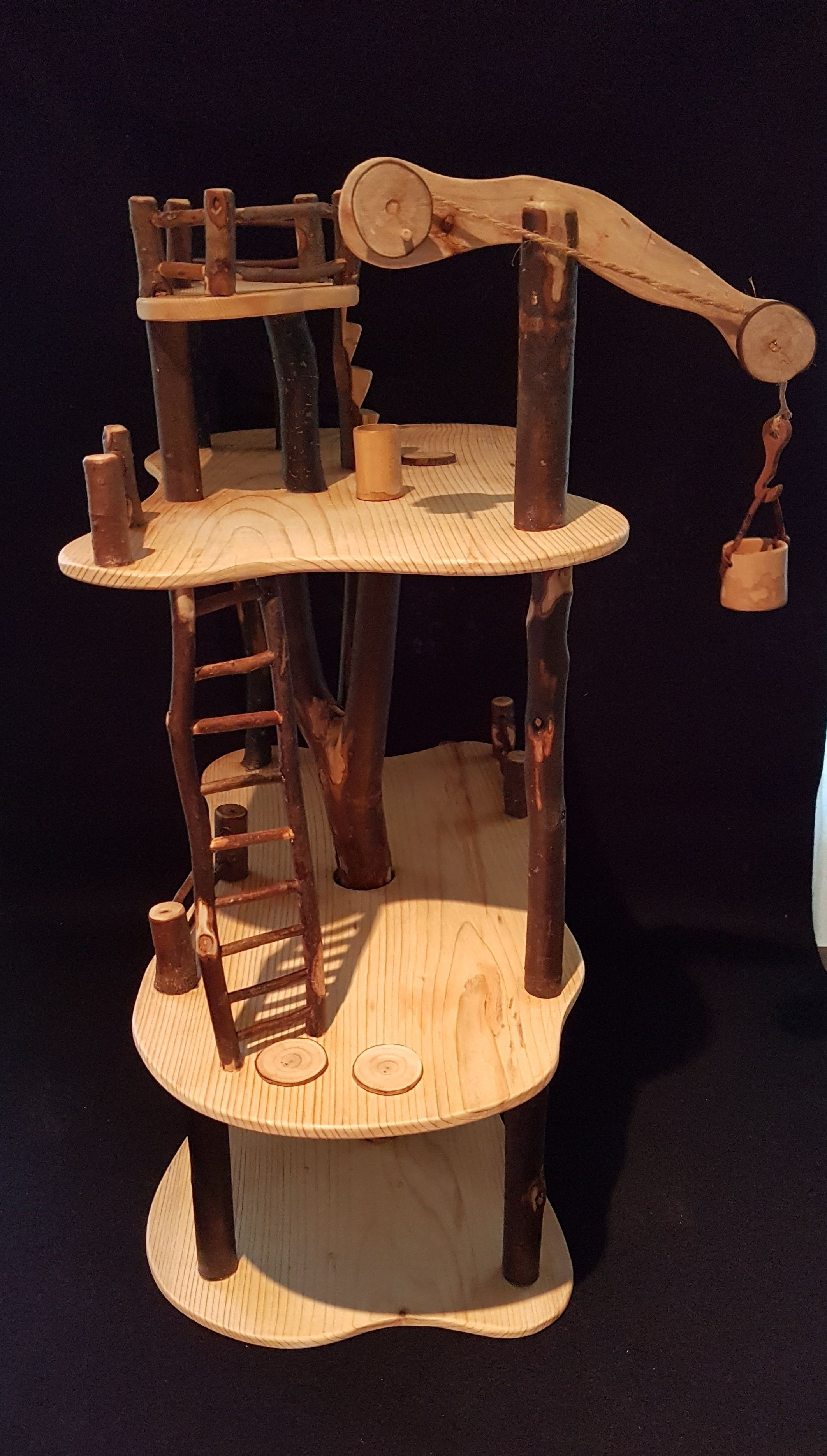 tree doll house wooden , steiner style, madethe cooroy