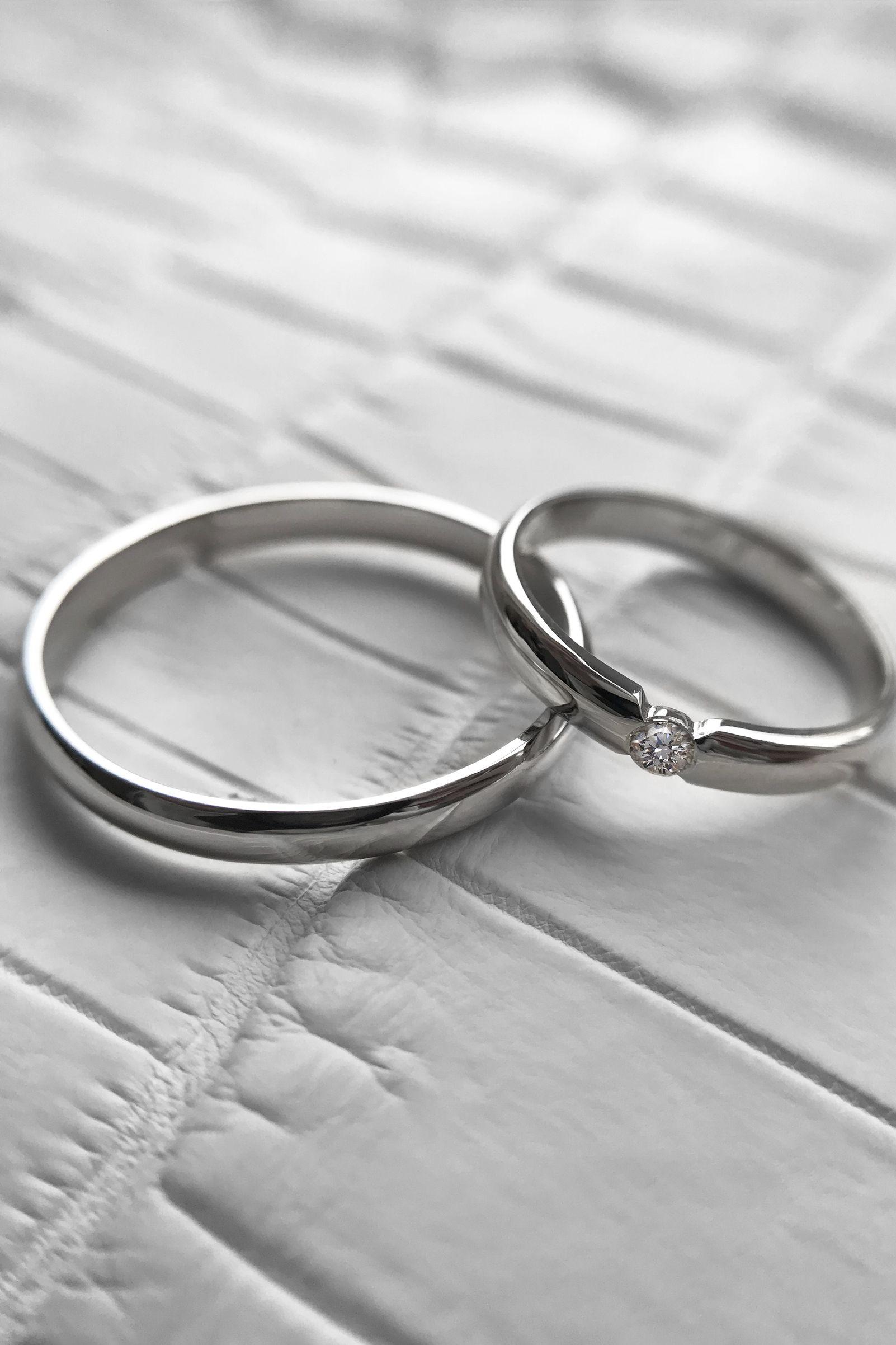 Diamond Wedding Band Set Minimalist 14K Gold Couples Rings