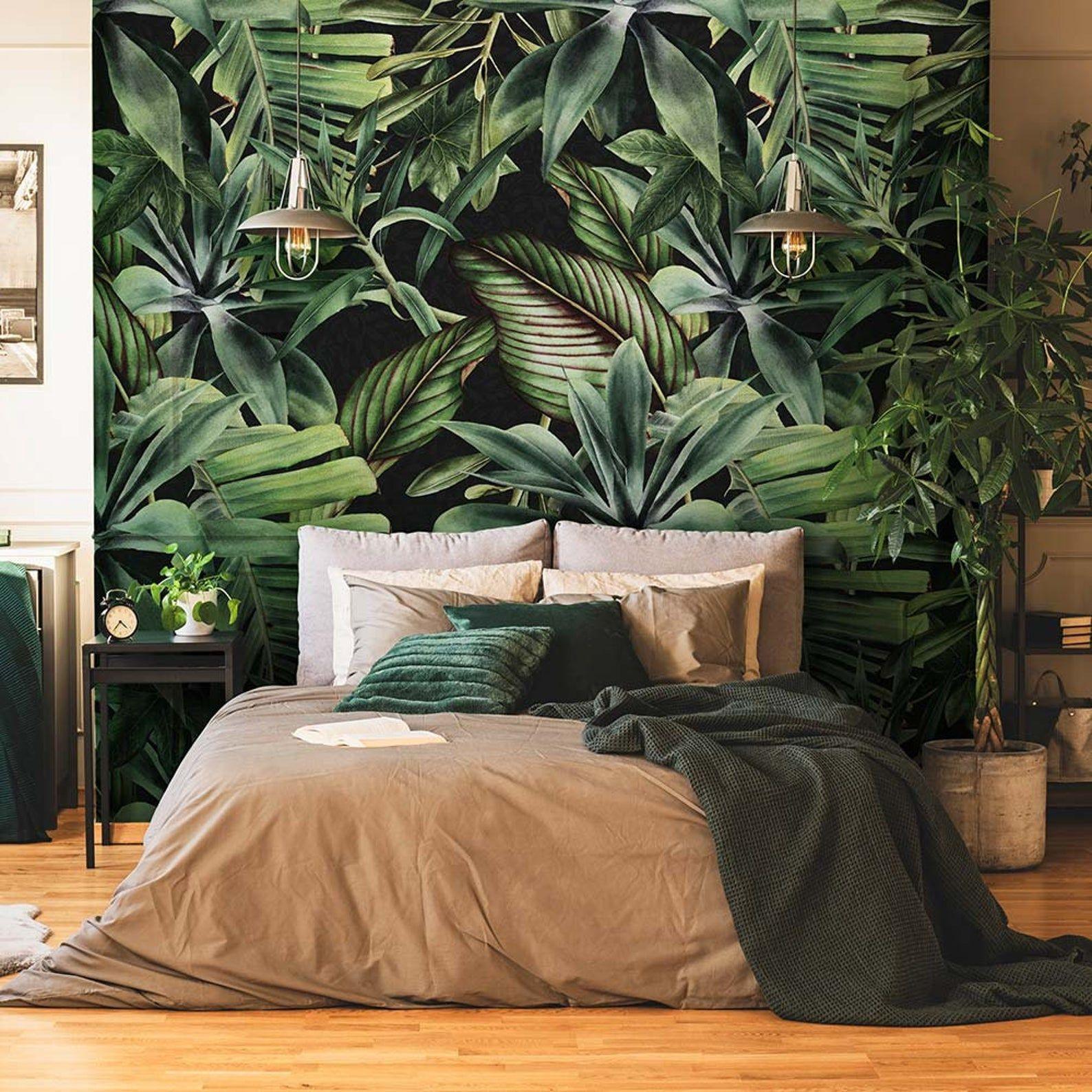 Cp0298 Fondo De Pantalla Adhesiva De Papel Efecto De Tela Muy Etsy In 2020 Tropical Bedroom Decor Tropical Bedrooms Luxurious Bedrooms Tropical wallpaper bedroom ideas