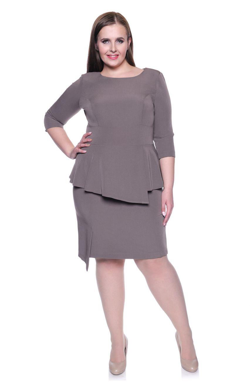 8d24b678e3 Beżowa sukienka baskinka - Modne Duże Rozmiary