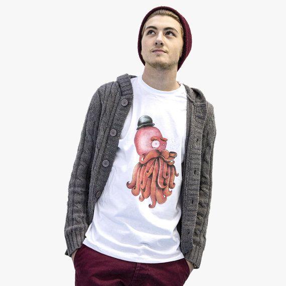 Sir Octopus 100% cotton t-shirt di cocofactory su Etsy