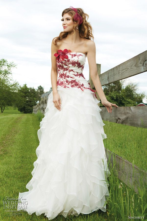 Black white and red wedding dresses