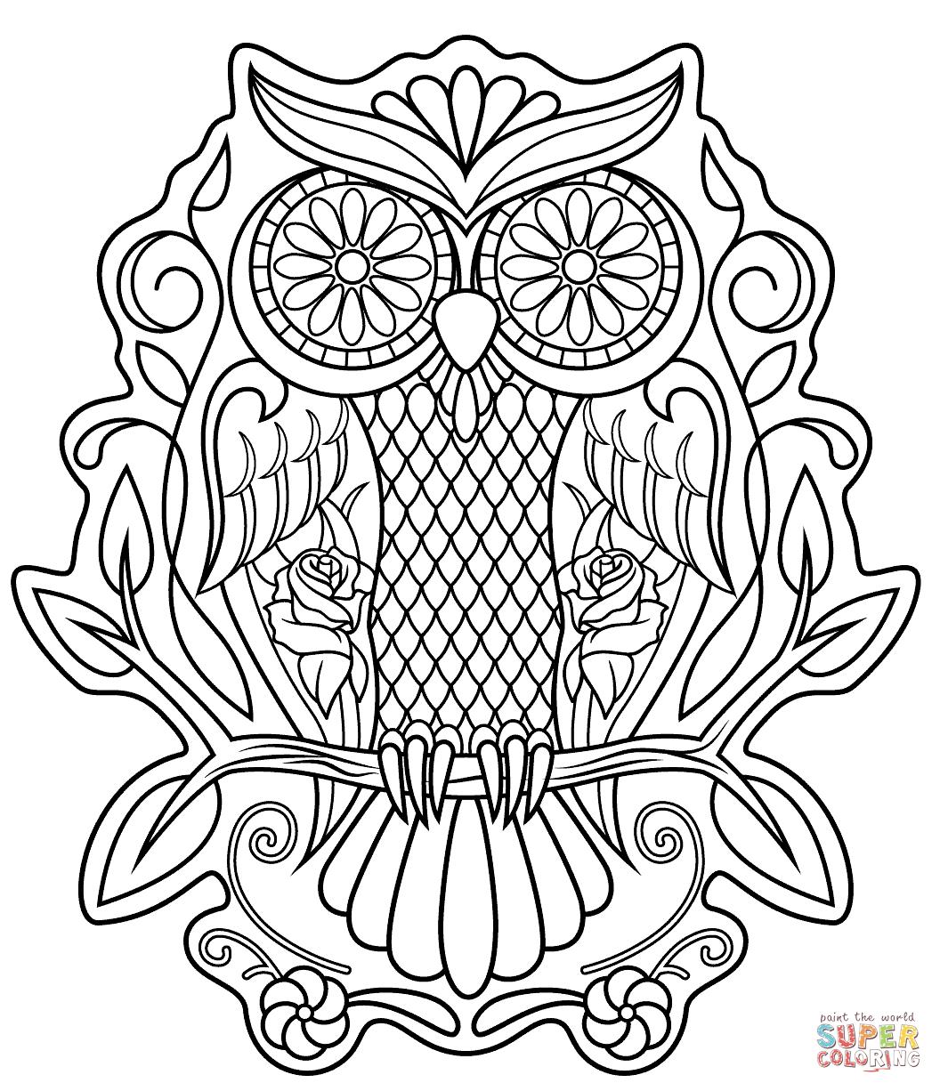 Sugar Skull Owl Coloring Page Free Printable Coloring Pages Skull Coloring Pages Owl Coloring Pages Sugar Skull Owl