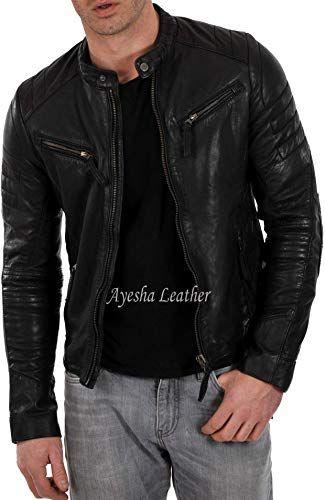 Ayesha Mens Leather Jackets Motorcycle Bomber Biker Genuine Lambskin 37