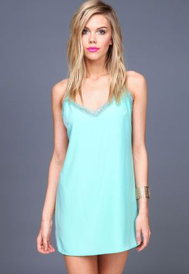 Aqua Lacy Straps Slip Dress,