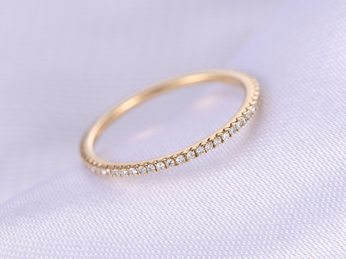 Full Eternity Diamond Thin Wedding Ring Anniversary Ring 14k Yellow Gold Infinity Ring Matching Band Personalized For Her Him Custom Ring Gold Infinity Ring Thin Wedding Ring Titanium Wedding Rings