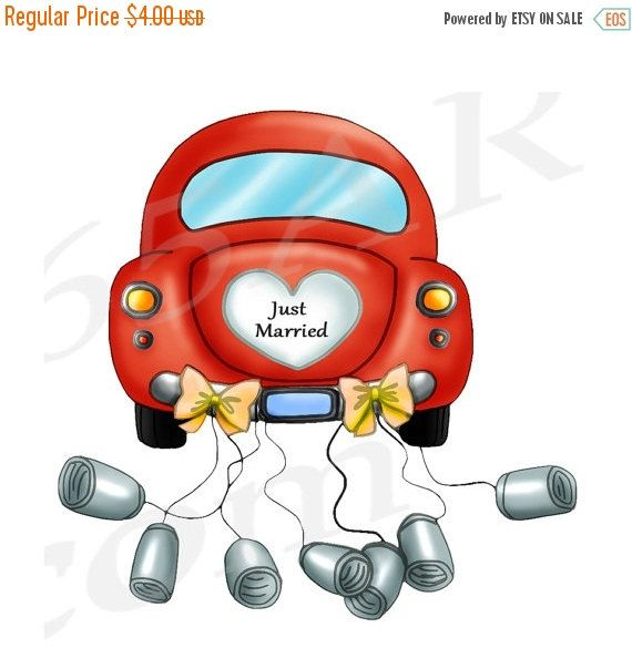 50 OFF Sale Just Married Car Clipart Clip Art Wedding