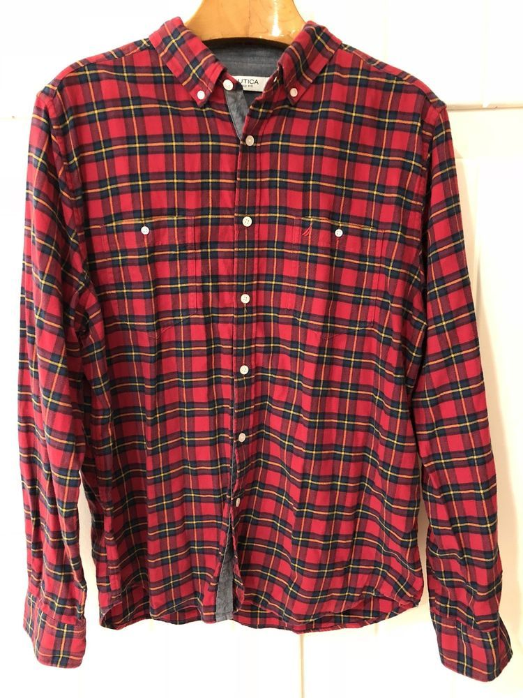 e2639a28e060 Mens Size XL Nautica Red Flannel With Denim Accents #fashion #clothing  #shoes #accessories #mensclothing #shirts (ebay link)
