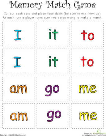 photograph regarding Sight Word Games Printable titled Video game Video game: Sight Term Memory Activity Homegrown:reading through
