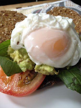 stuffed portobello, tomato, basil, avocado mash, poached egg and multigrain toast