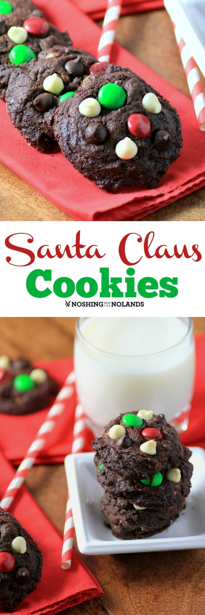 Santa Claus Cookies by Noshing With The Nolands are a triple chocolate delight to leave out for Santa this year. Maybe he'll leave something extra under the tree!