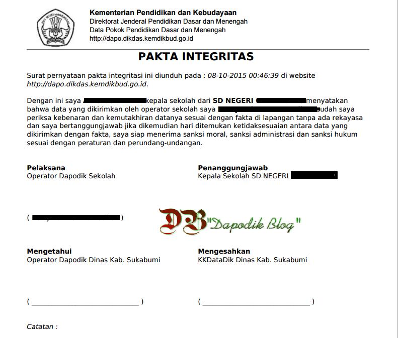 Mencetak Pakta Integritas Dapodik Secara Otomatis