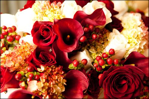 Perfect holiday colors - deep reds, ivory and greens. Created by flowers by stem (www.flowersbystem.com).