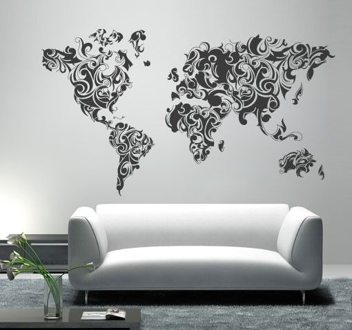Tribal Floral World Map In Vinyl Decal For Home Wall Decoration $61.42