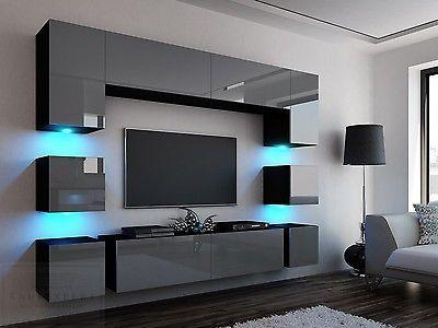 Wohnwand Quadro 228 Grau Hochglanz/Schwarz LED Bel