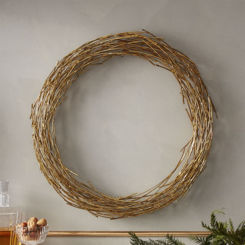 Shop Samara Brass Twig Wreath Sculptural Metal Rods Spin And Bend Organic Round