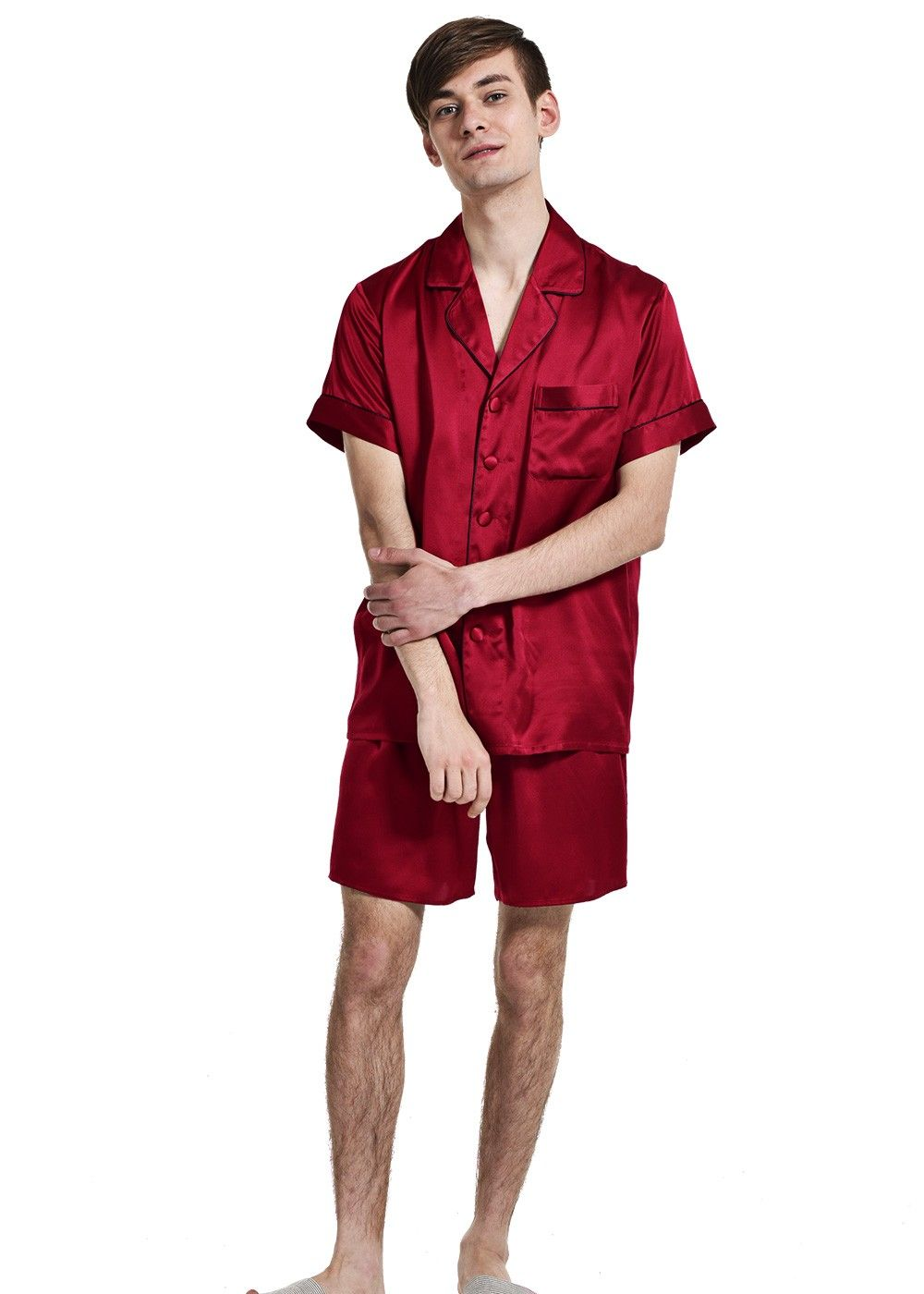 b617e77b73 Mens Pure Silk Short Pajamas Set Plus Size - OOSilk
