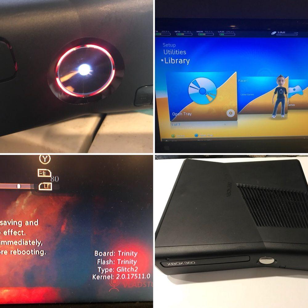 Custom Xbox 360 slim trinity J/tag RGH w/250GB HDD Red and White