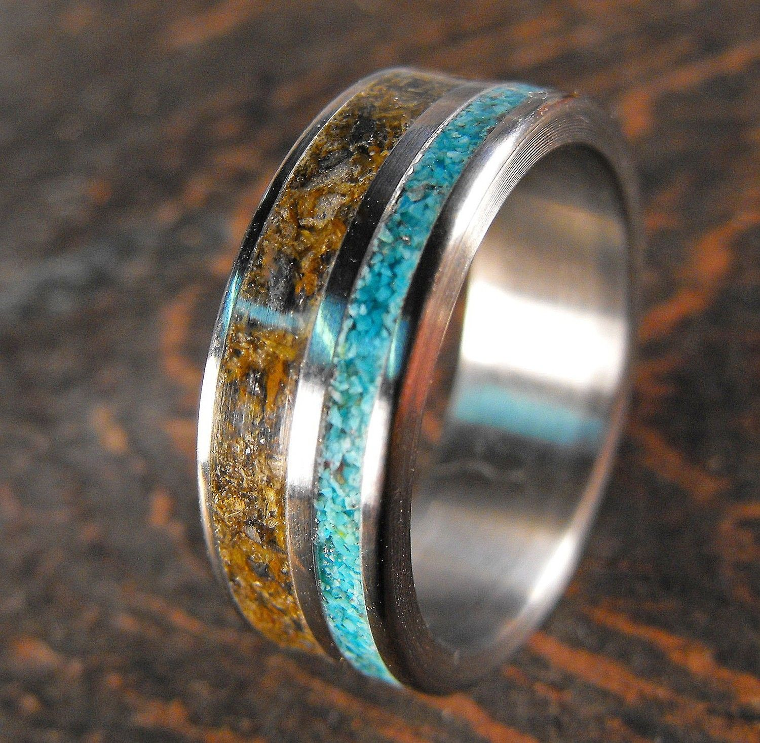 Anium And Double Stone Inlay Ring Tigerseye By Robandlean 150 00