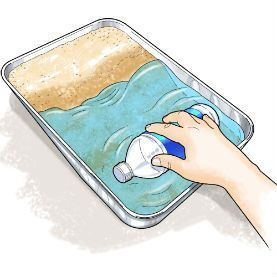 """This is a science experiment that displays what water does to the shoreline of the ocean. In class, explain how the beach is made. It is made by the erosion of rock formations that are moved on shore by the waves. You can put sand in a cup and make a """"land formation"""" and show what the waves do to it as they splash up to the beach."""