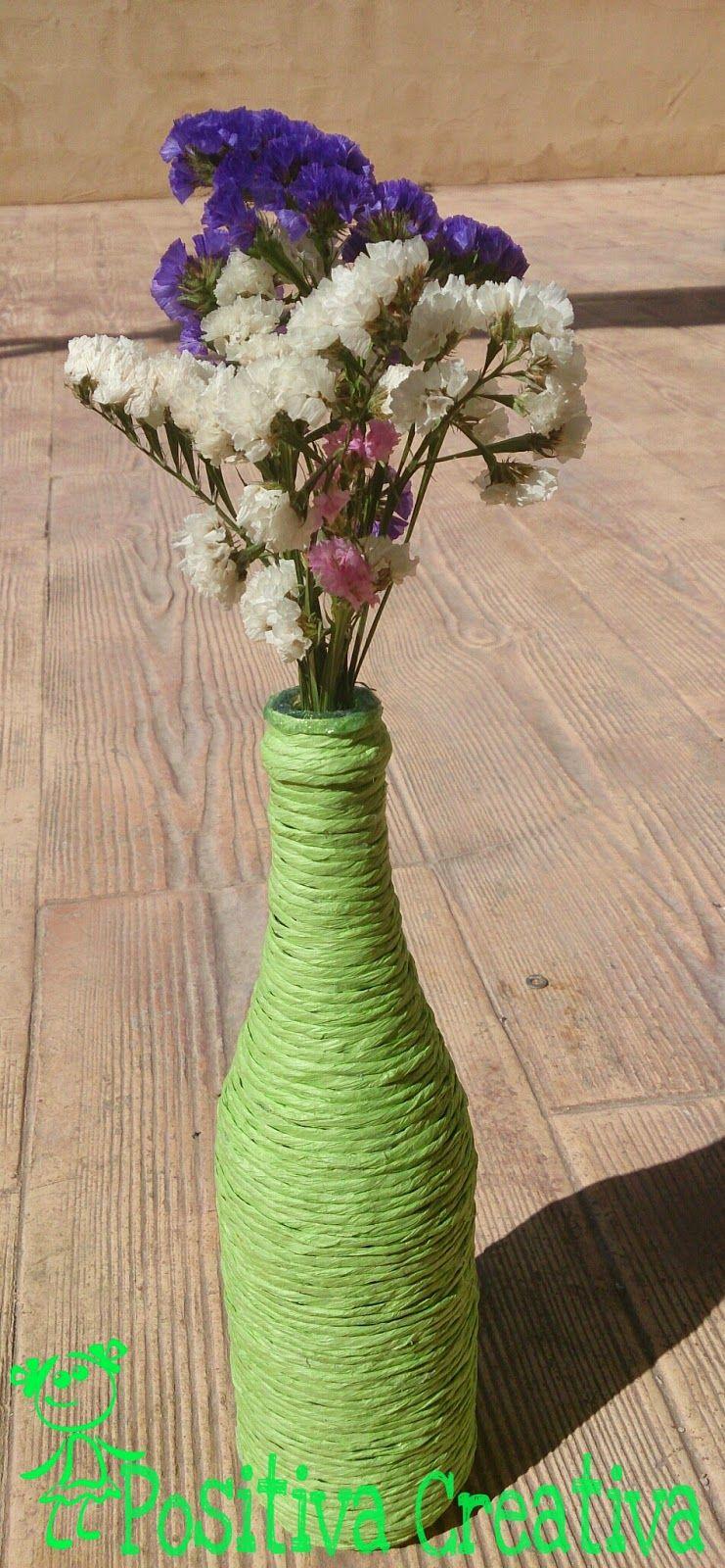 POSITIVA CREATIVA: Como hacer un jarrón de primavera paso a paso con materiales reciclados