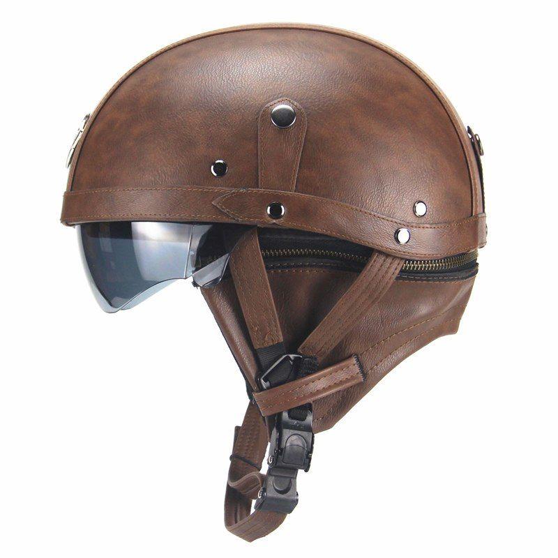 Motorcycle Motorbike Rider Half Pu Leather Retro Helmet Carace Motorcycle Helmets Half Vintage Helmet Motorcycle Helmets Vintage