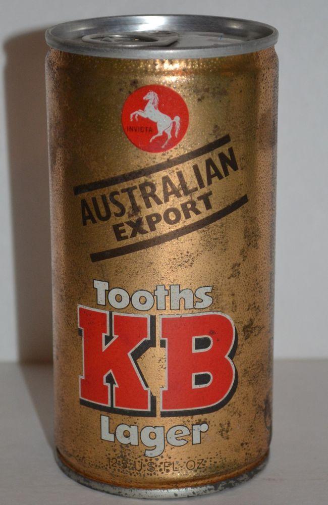 Vintage KB Tooths Lager Steel Beer Can 125 Fluid Ounces Australian Export KBToothsLager