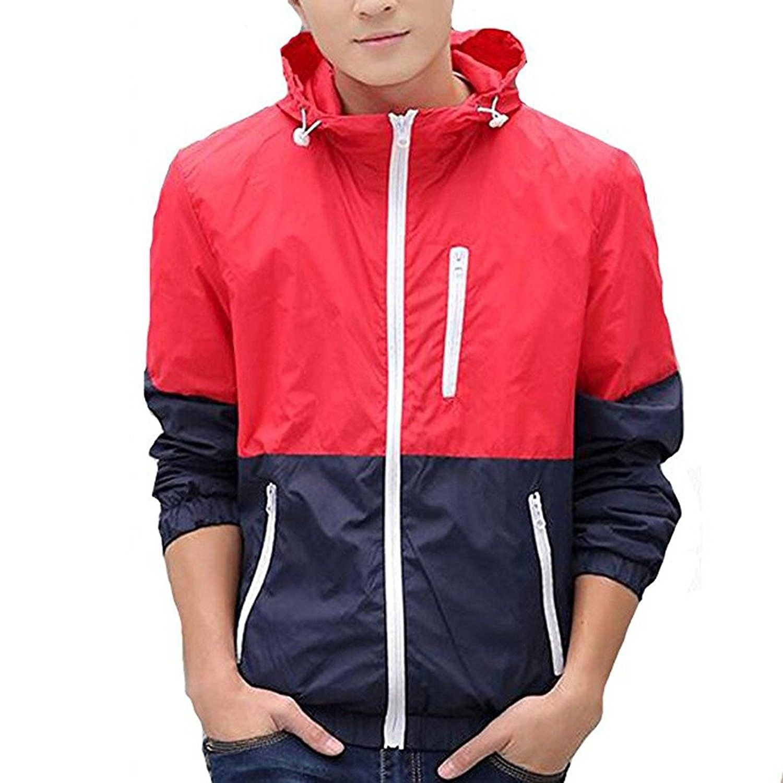 Men S Spring Casual Light Jacket With Hood Fba Red M C817z37kcks Sport Jacket Men Mens Outdoor Clothing Mens Outerwear Jacket [ 1500 x 1500 Pixel ]