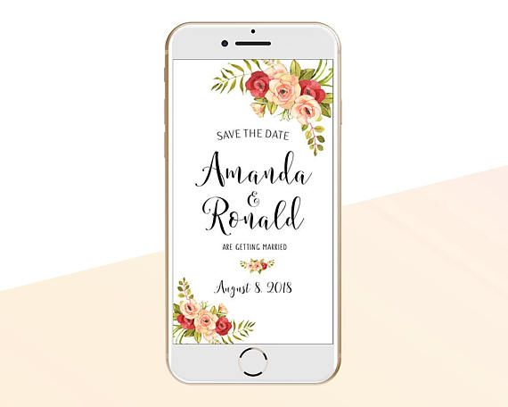 Electronic Wedding Invitation: Electronic Save The Date, SMS MESSAGE, Iphone E-card