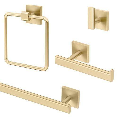 Gatco Elevate Brushed Brass Metal Bath Accessory Set Lowes Com Bathroom Hardware Set Brass Bathroom Accessories Bathroom Hardware
