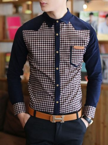 Men/'s Western style Long sleeve Button Front Slim Fit Printed Blouses Casual B