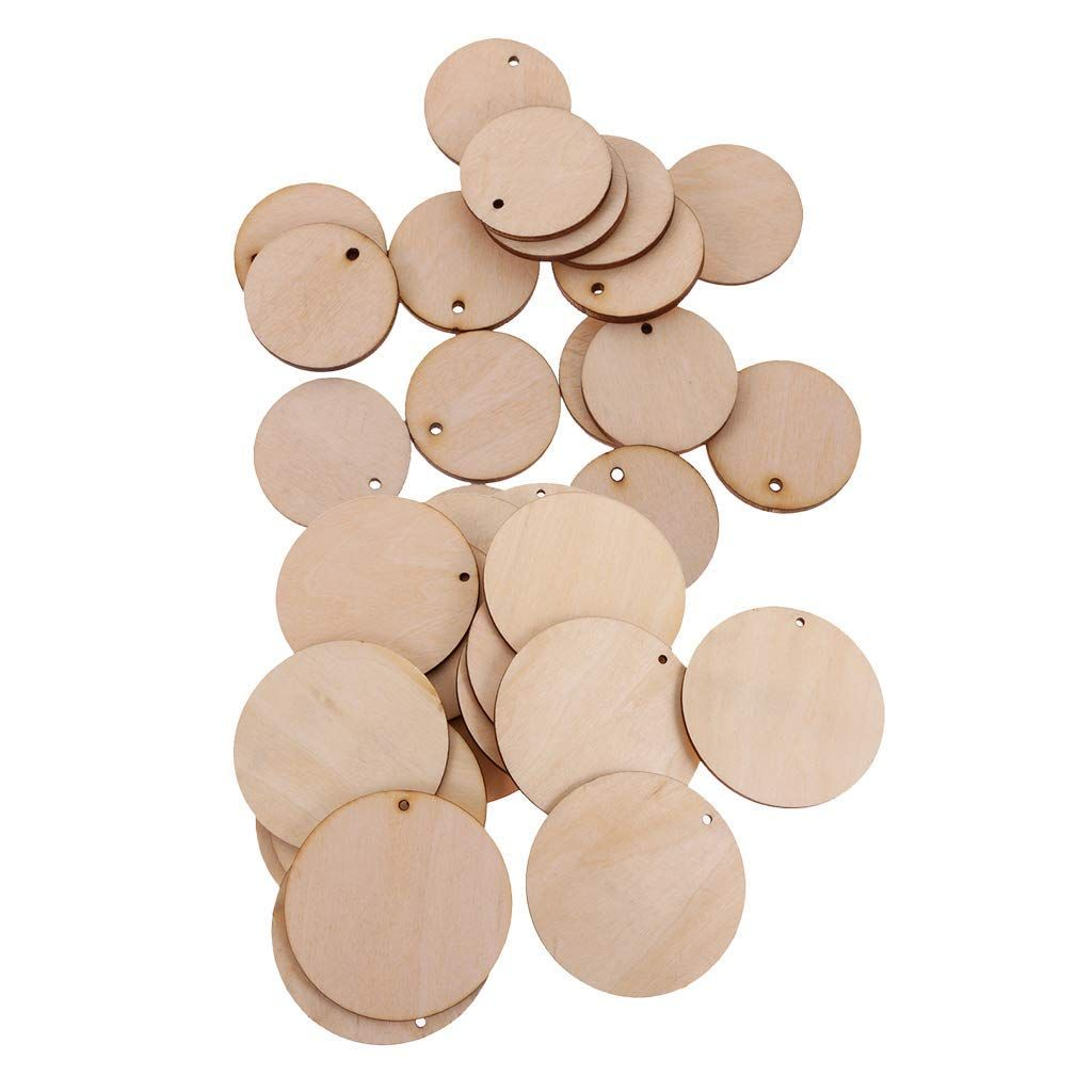 Magideal 150 Pieces Round Circle Unfinished Wood Tags Wooden Shapes Embellishment Hole Diy Crafts Wedding Decoration 50mm Wooden Shapes Wood Tags Craft Wedding