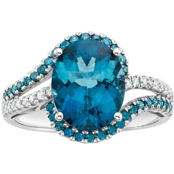 London Blue Topaz and 3/8 ct. tw. Blue and White Diamond Ring in 10K... ($909) ❤ liked on Polyvore featuring jewelry, rings, blue, blue diamond, diamond rings, white gold diamond rings, diamond enhancer ring, blue ring and band rings