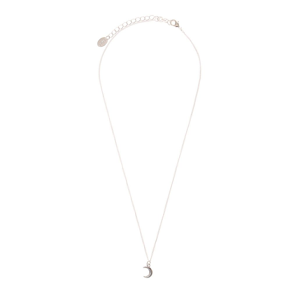 <UL><LI>Silver-tone finish <LI>Fine short chain <LI>Half moon pendant <LI>Lobster clasp fastening</LI></UL>